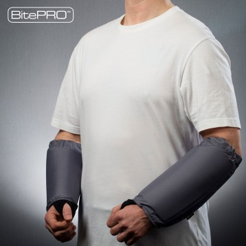 BitePRO™ Arm Guards are manufactured using Cut-Tex® PRO, our ground-breaking bite resistant material that prevents human teeth from penetrating the wearer's skin. This particular model provides additional protection to prevent severe bruising and blunt forced trauma - using specially engineered impact absorbing foam.