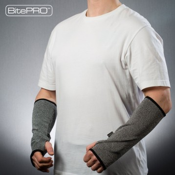 BitePRO™ Arm Guards (Version 3) are manufactured using Cut-Tex® PRO, our ground-breaking bite resistant material that prevents human teeth from penetrating the wearer's skin.