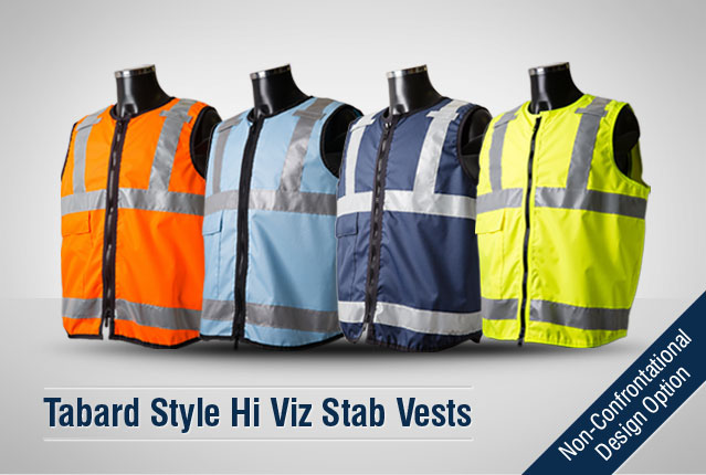 Due to their 'non-confrontational' design, PPSS Tabard Style Hi Viz Stab Vests have become the first choice of body armour for public facing organisations such as facility management, civil enforcement and public transport., as well as event security and crowd control.