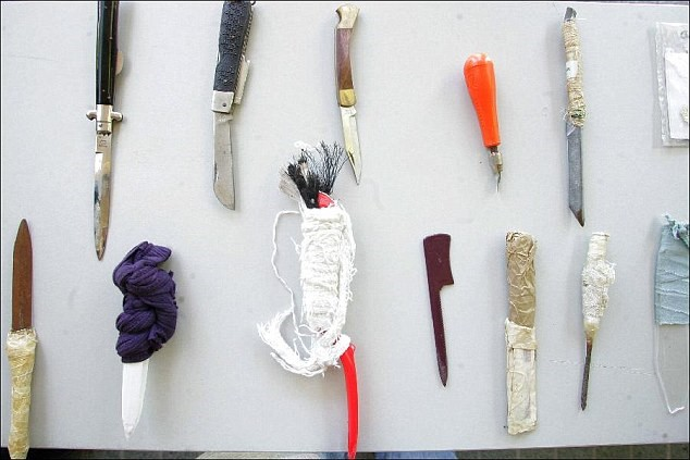 Selection of edged weapons to be found within prison facilities.